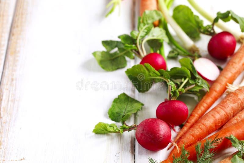 Λαχανικά άνοιξη στο άσπρο ξύλινο υπόβαθρο με το διάστημα αντιγράφων στοκ εικόνες