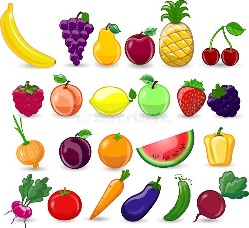 Λαχανικά και φρούτα κινούμενων σχεδίων διανυσματική απεικόνιση