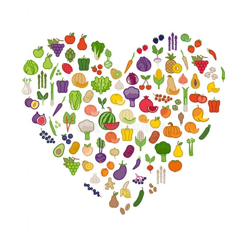 Λαχανικά και φρούτα σε μια μορφή καρδιών ελεύθερη απεικόνιση δικαιώματος