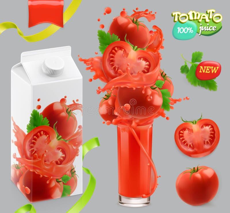 Λαχανικά ντοματών Παφλασμός του χυμού τρισδιάστατο διάνυσμα, σύνολο σχεδίου συσκευασίας διανυσματική απεικόνιση