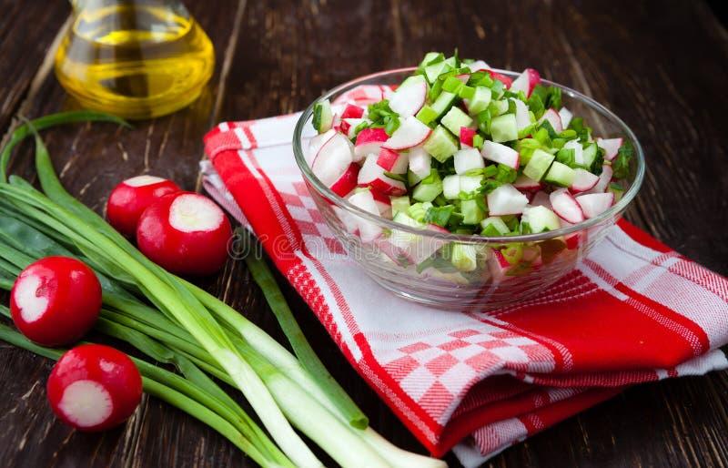 Λαχανικά, ραδίκια και κρεμμύδια άνοιξη σε μια φρέσκια σαλάτα στοκ φωτογραφία με δικαίωμα ελεύθερης χρήσης