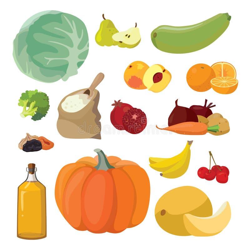 Λαχανικά, φρούτα, μούρα, δημητριακά, πετρέλαιο ελεύθερη απεικόνιση δικαιώματος