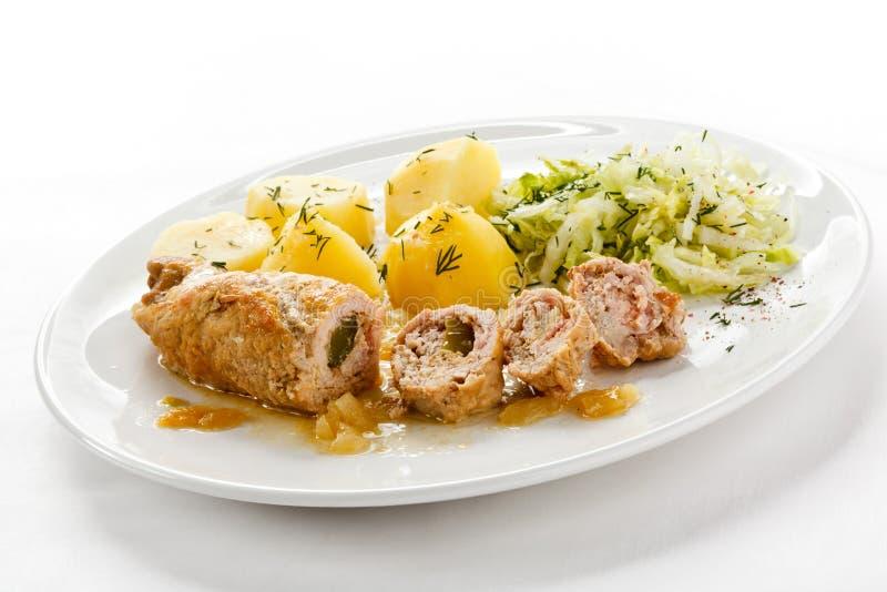 λαχανικά χοιρινού κρέατος μπριζολών στοκ φωτογραφίες με δικαίωμα ελεύθερης χρήσης