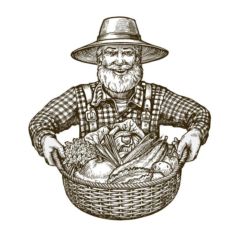 Λαχανικά Farmer με το καλάθι στα χέρια Διάνυσμα σκίτσων διανυσματική απεικόνιση