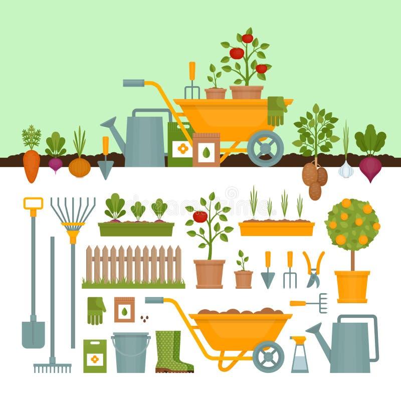 λαχανικό κήπων εργαλεία άνοιξης κηπουρικής κήπων Έμβλημα με το φυτικό κήπο ΛΦ απεικόνιση αποθεμάτων