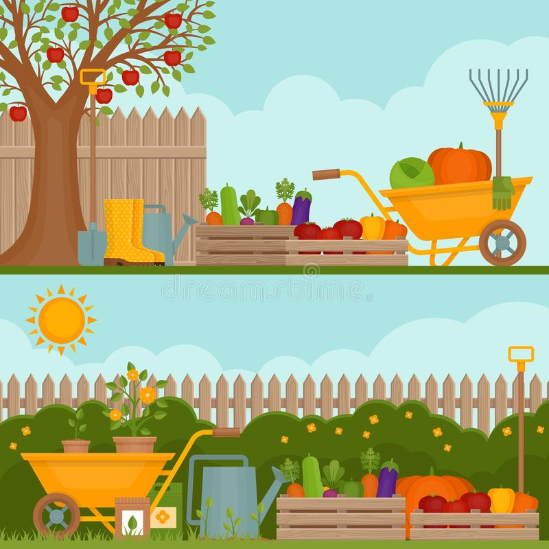 λαχανικό κήπων κηπουρική έννοιας Έμβλημα με το φυτικό GA διανυσματική απεικόνιση