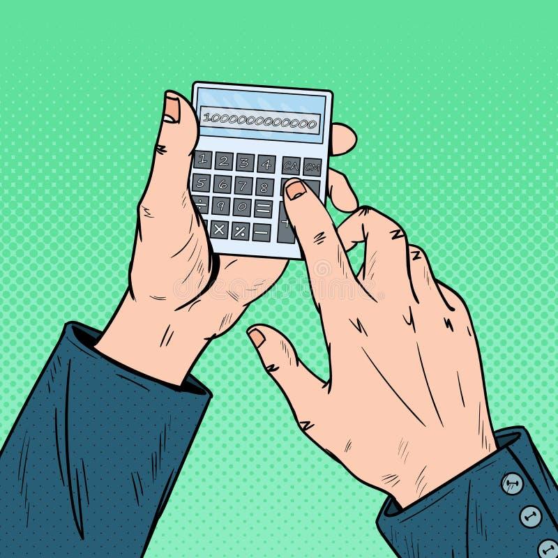 Λαϊκά αρσενικά χέρια τέχνης που χρησιμοποιούν τον υπολογιστή Μαθηματικά υπολογισμού απεικόνιση αποθεμάτων