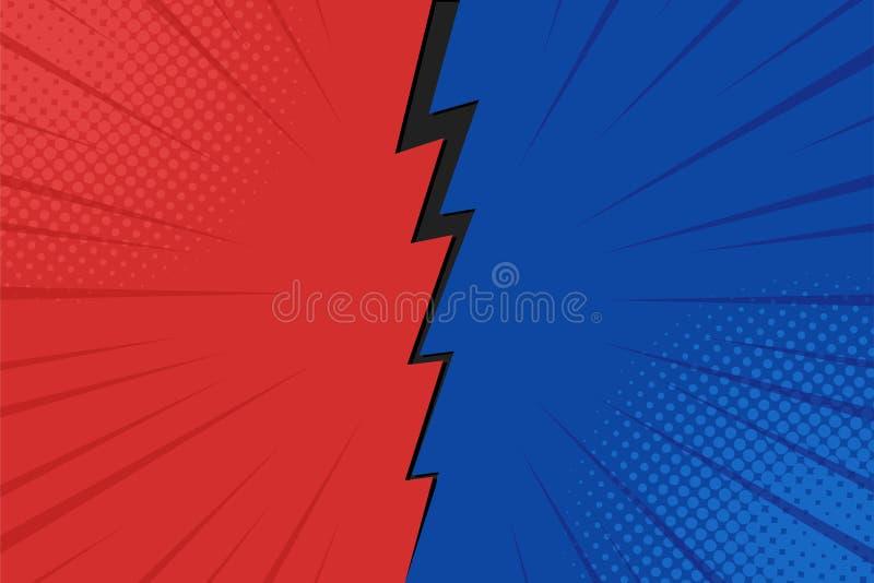 Λαϊκά ημίτοά σημεία φυσήματος αστραπής υποβάθρου τέχνης κωμικά Διανυσματική απεικόνιση κινούμενων σχεδίων κόκκινος και μπλε διανυσματική απεικόνιση