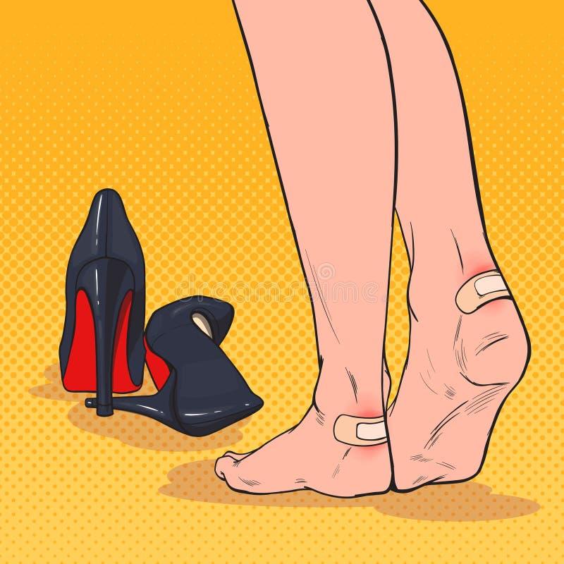 Λαϊκά πόδια γυναικών τέχνης με το μπάλωμα στον αστράγαλο μετά από να φορέσει τα υψηλά παπούτσια τακουνιών Συγκολλητικός επίδεσμος διανυσματική απεικόνιση