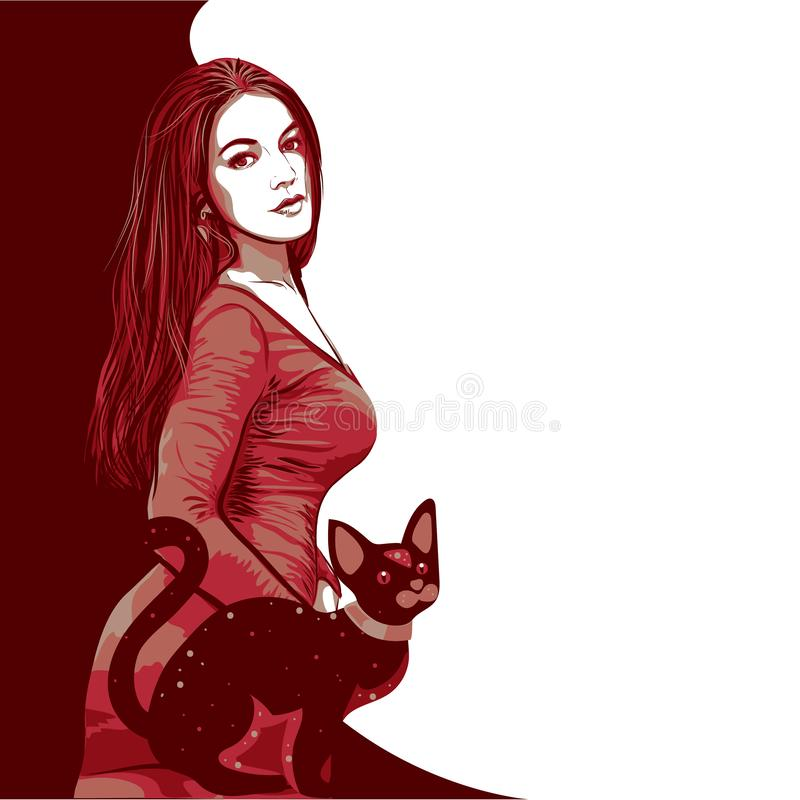 Λαϊκές νέες όμορφες γυναίκα και γάτα τέχνης επίσης corel σύρετε το διάνυσμα απεικόνισης ελεύθερη απεικόνιση δικαιώματος
