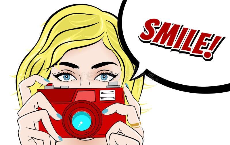 Λαϊκή απεικόνιση τέχνης κόμικς με το κορίτσι Αστέρας κινηματογράφου με τη κάμερα Foto Εκλεκτής ποιότητας διαφήμιση φωτογράφων ή V διανυσματική απεικόνιση