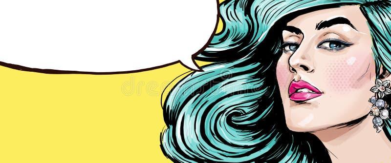 Λαϊκή απεικόνιση τέχνης του κοριτσιού με τη λεκτική φυσαλίδα Λαϊκό κορίτσι τέχνης κορίτσι προκλητικό Supermodel απεικόνιση αποθεμάτων