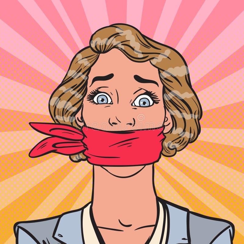 Λαϊκή βουβή κατασιγασμένη επιχειρησιακή γυναίκα τέχνης Επιχειρησιακή λογοκρισία ελεύθερη απεικόνιση δικαιώματος