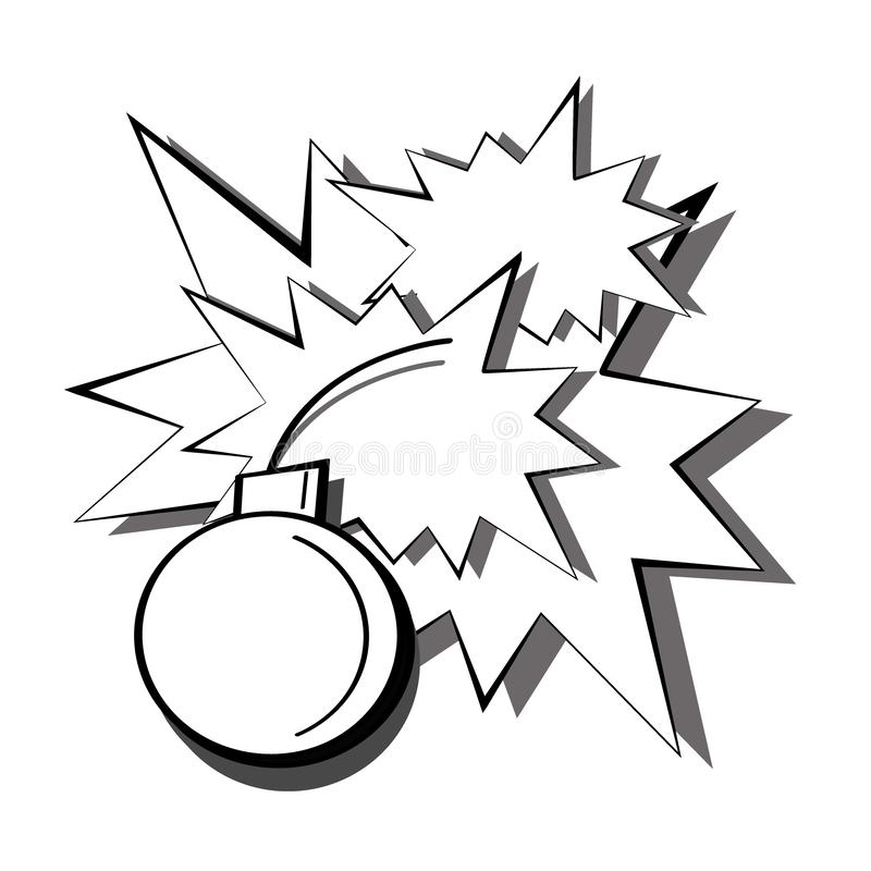 Λαϊκή γραπτή εκπυρσοκρότηση τέχνης μιας βόμβας με τους σπινθήρες και των λάμψεων από τις εκρήξεις Απεικόνιση κόμικς κινούμενων σχ απεικόνιση αποθεμάτων