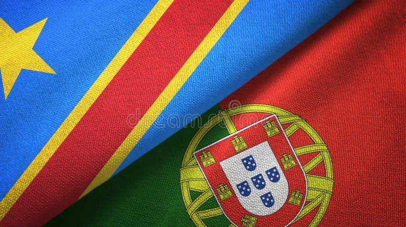 Λαϊκή Δημοκρατία και Πορτογαλία δύο του Κονγκό υφαντικό ύφασμα σημαιών, σύσταση υφάσματος ελεύθερη απεικόνιση δικαιώματος