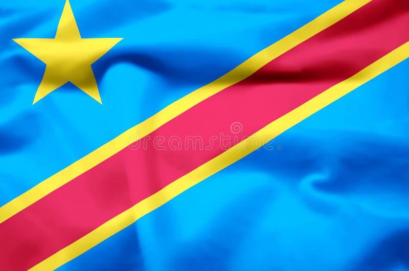 Λαϊκή δημοκρατία της ρεαλιστικής απεικόνισης σημαιών του Κογκό διανυσματική απεικόνιση