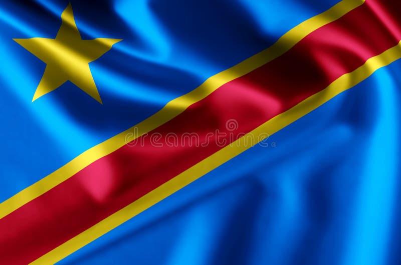 Λαϊκή δημοκρατία της ρεαλιστικής απεικόνισης σημαιών του Κογκό ελεύθερη απεικόνιση δικαιώματος