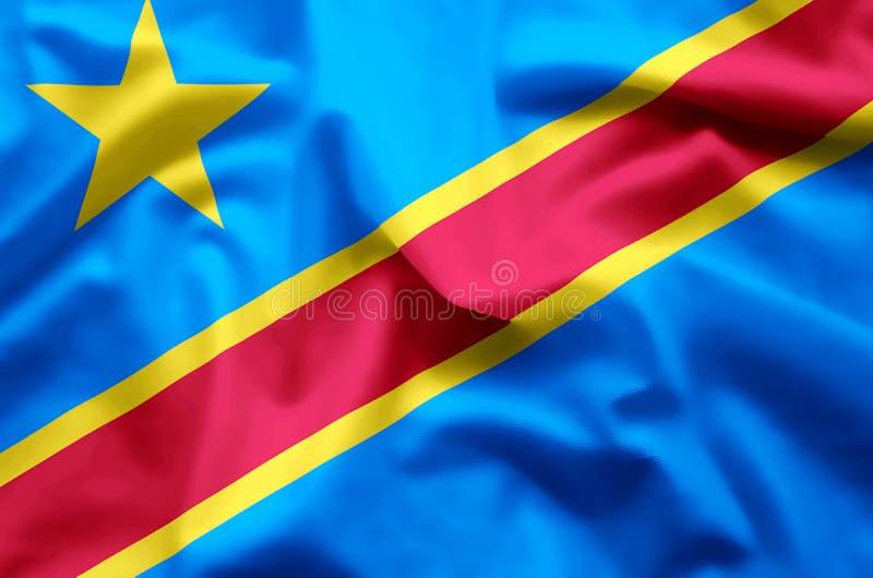 Λαϊκή δημοκρατία του ζωηρόχρωμων κυματισμού του Κογκό και της απεικόνισης σημαιών κινηματογραφήσεων σε πρώτο πλάνο ελεύθερη απεικόνιση δικαιώματος