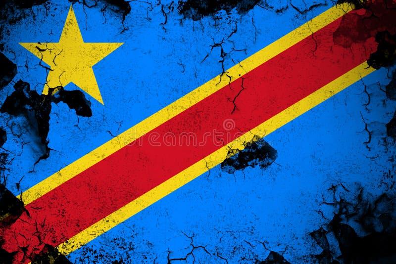 Λαϊκή δημοκρατία του Κογκό σκουριασμένη και grunge της απεικόνισης σημαιών διανυσματική απεικόνιση