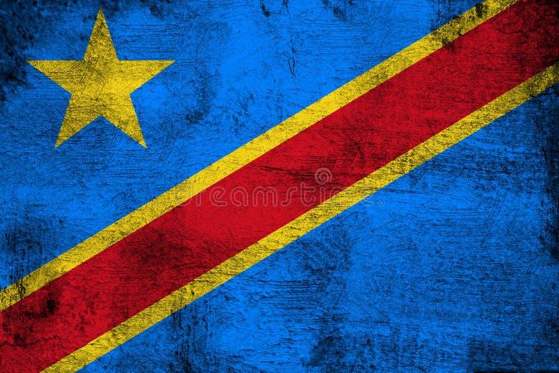 Λαϊκή δημοκρατία του Κογκό σκουριασμένη και grunge της απεικόνισης σημαιών ελεύθερη απεικόνιση δικαιώματος