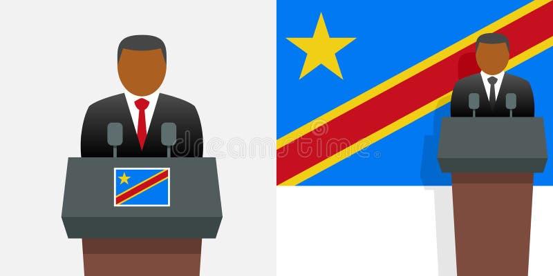 Λαϊκή δημοκρατία του Προέδρου και της σημαίας του Κογκό απεικόνιση αποθεμάτων