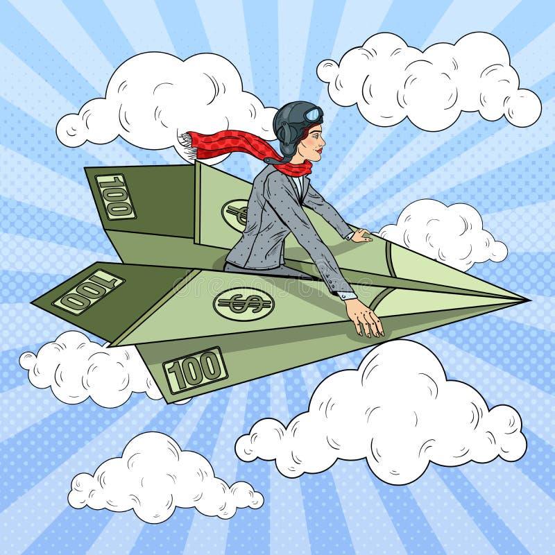 Λαϊκή επιτυχής επιχειρησιακή γυναίκα τέχνης που πετά στο αεροπλάνο εγγράφου δολαρίων διανυσματική απεικόνιση