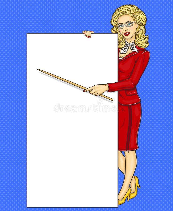 Λαϊκή επιχειρησιακή γυναίκα τέχνης που παρουσιάζει κάποιες πληροφορίες ελεύθερη απεικόνιση δικαιώματος
