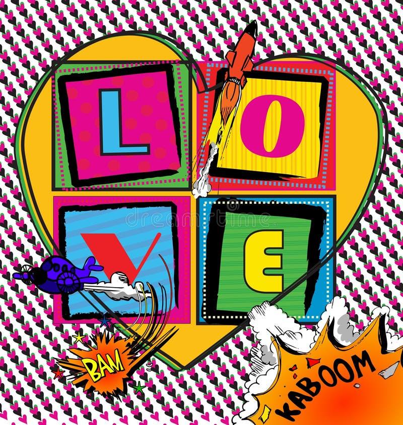 Λαϊκή κάρτα τέχνης αγάπης με το ύφος κόμικς στοκ εικόνες με δικαίωμα ελεύθερης χρήσης