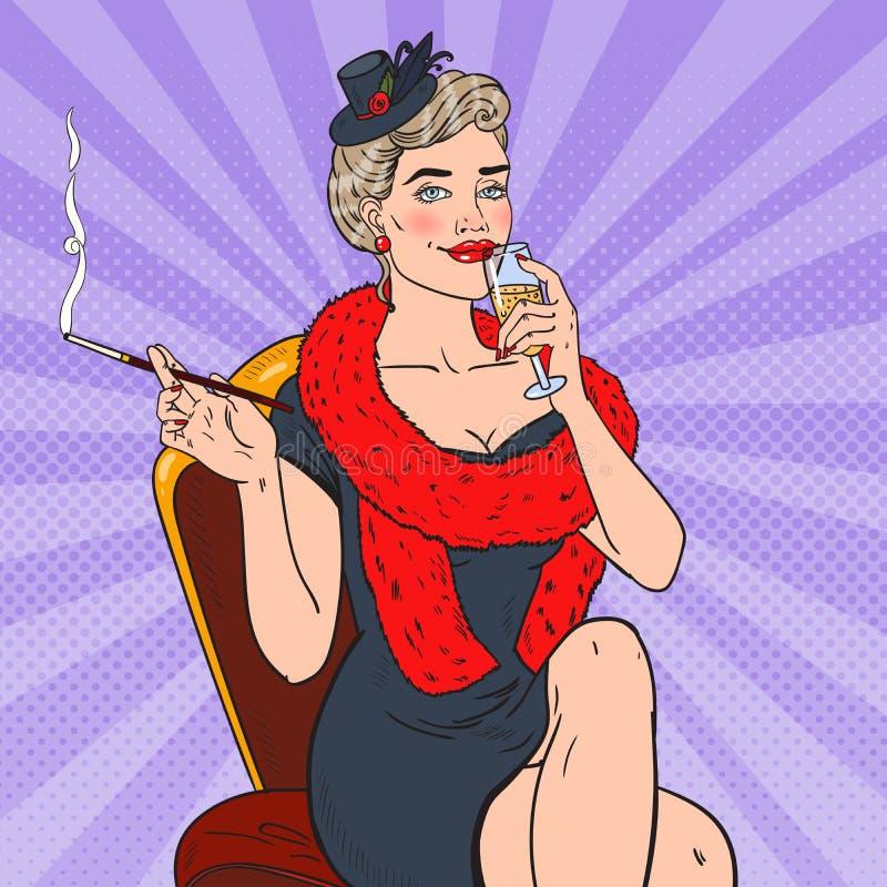 Λαϊκή καπνίζοντας γυναίκα τέχνης με το γυαλί CHAMPAGNE Femme fatale απεικόνιση αναδρομική απεικόνιση αποθεμάτων