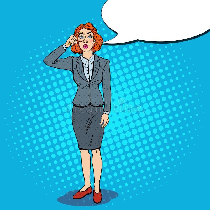 Λαϊκή κατάπληκτη τέχνη επιχειρησιακή γυναίκα με Magnifier απεικόνιση αποθεμάτων