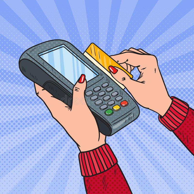 Λαϊκή πιστωτική κάρτα Swiping χεριών τέχνης θηλυκή με το τερματικό τράπεζας Πληρωμή με POS στο κατάστημα διανυσματική απεικόνιση