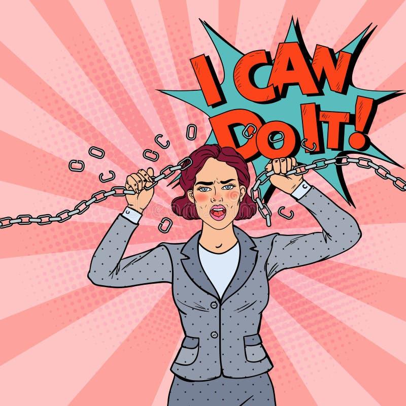 Λαϊκή τέχνης αλυσίδα μετάλλων επιχειρησιακών γυναικών σπάζοντας ισχυρή γυναίκα ελεύθερη απεικόνιση δικαιώματος