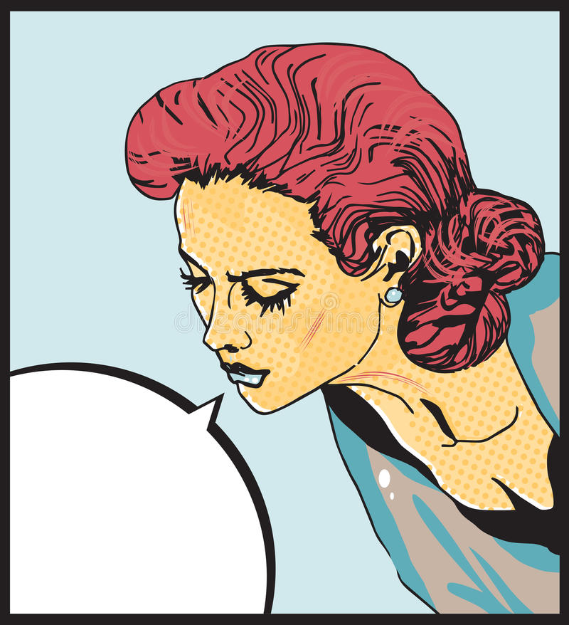 Λαϊκή τέχνης αναδρομική διανυσματική απεικόνιση αγάπης γυναικών κωμική του προσώπου απεικόνιση αποθεμάτων