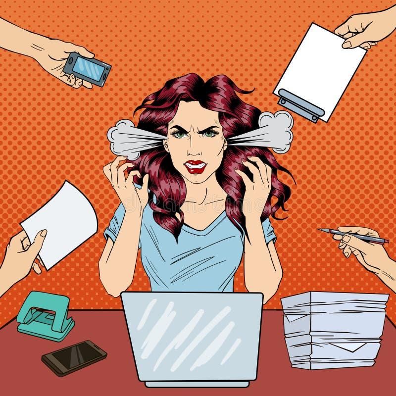 Λαϊκή τέχνη που κραυγάζειη την επιχειρησιακή γυναίκα με το lap-top στην εργασία γραφείων διανυσματική απεικόνιση