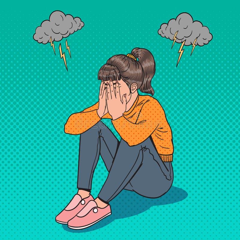 Λαϊκή τέχνη συνεδρίαση νέων κοριτσιών στο πάτωμα Καταθλιπτική φωνάζοντας γυναίκα Πίεση και απελπισία διανυσματική απεικόνιση