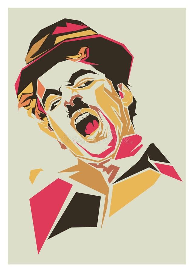 Λαϊκή τέχνη chaplin του Charlie διανυσματική απεικόνιση