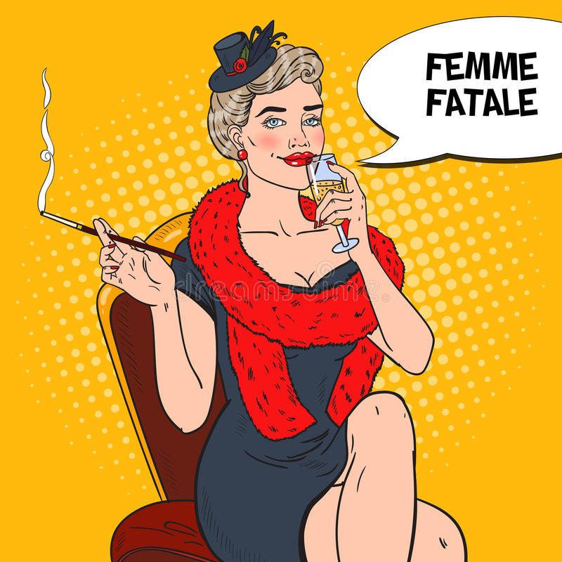 Λαϊκή όμορφη γυναίκα τέχνης στη γούνα με το γυαλί CHAMPAGNE Femme fatale απεικόνιση αναδρομική απεικόνιση αποθεμάτων