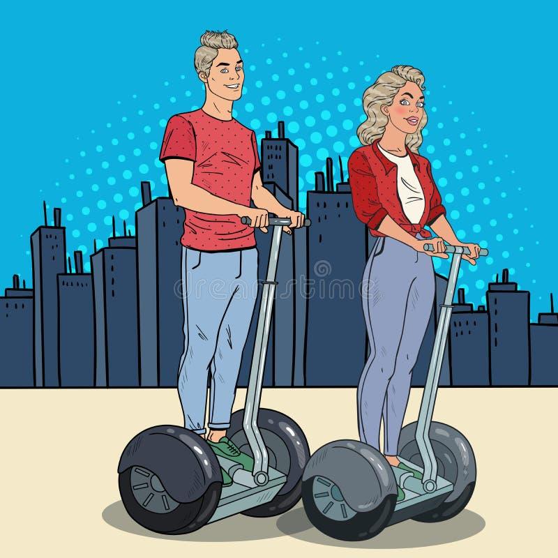 Λαϊκοί άνδρας και γυναίκα τέχνης νεαρός που οδηγούν Segway Ευτυχές ζεύγος που η αστική μεταφορά ελεύθερη απεικόνιση δικαιώματος