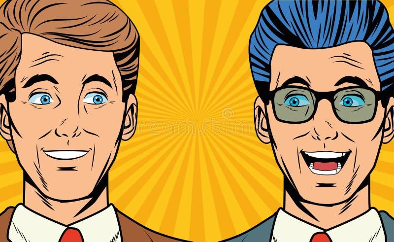 Λαϊκοί επιχειρηματίες τέχνης που χαμογελούν τα κινούμενα σχέδια προσώπων διανυσματική απεικόνιση