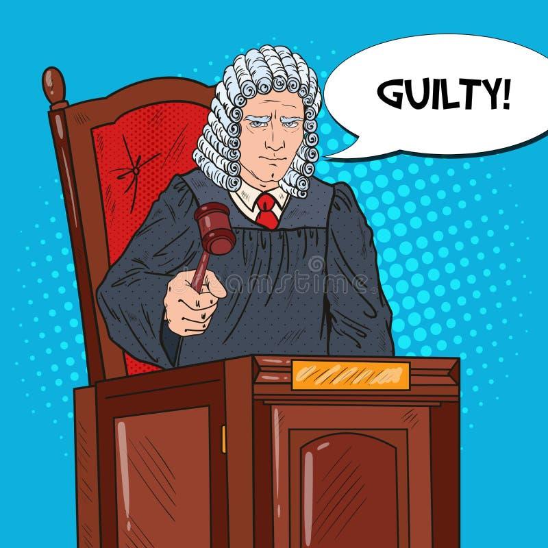 Λαϊκός ανώτερος δικαστής τέχνης στο δικαστήριο που χτυπά Gavel Νόμος και δικαστικό σύστημα διανυσματική απεικόνιση