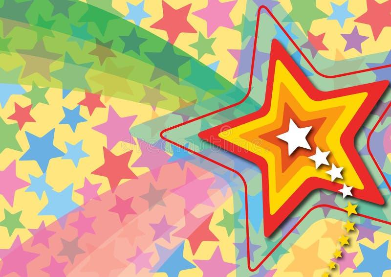 λαϊκό αναδρομικό αστέρι ουράνιων τόξων διανυσματική απεικόνιση