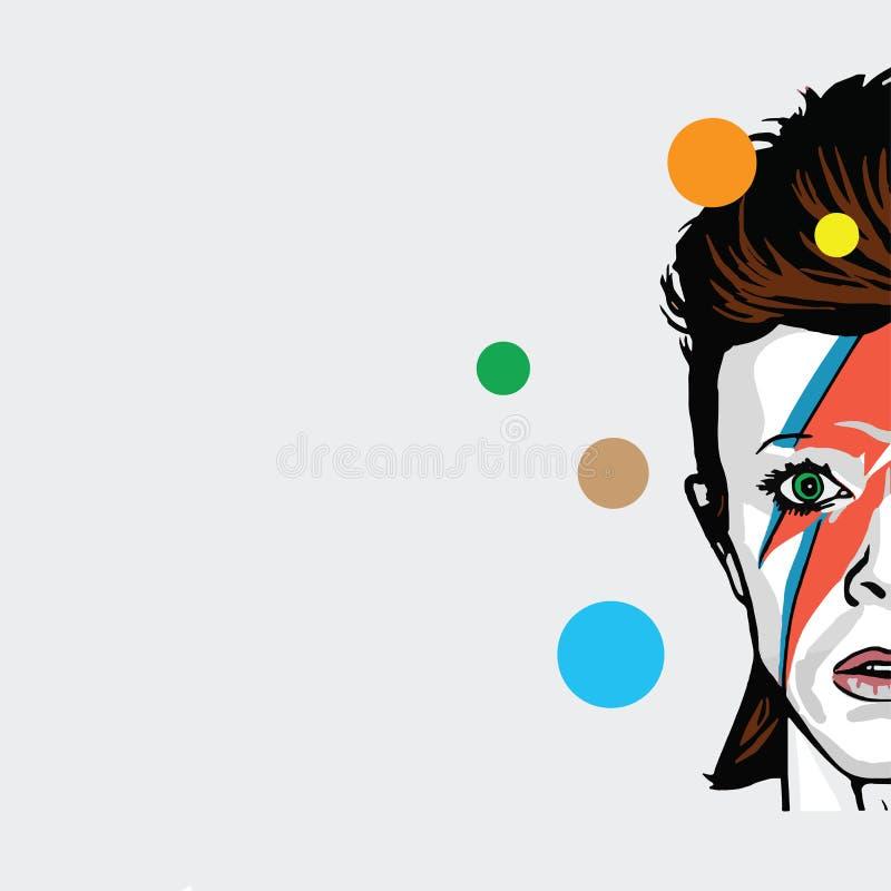 Λαϊκό διάνυσμα τέχνης του David Bowie απεικόνιση αποθεμάτων