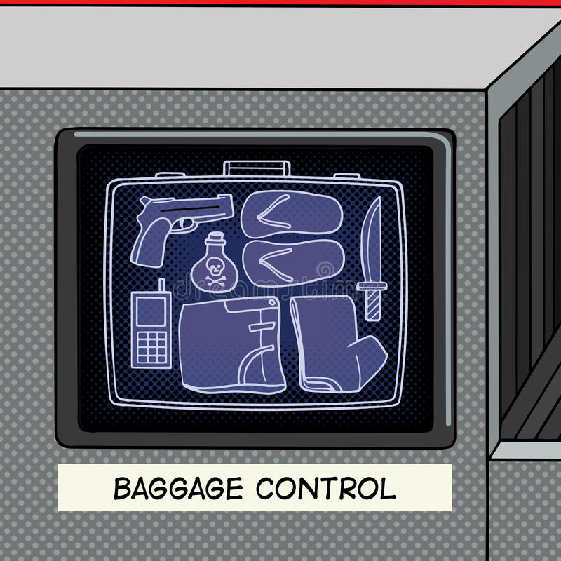 Λαϊκό διάνυσμα ύφους τέχνης ελέγχου αποσκευών ελεύθερη απεικόνιση δικαιώματος