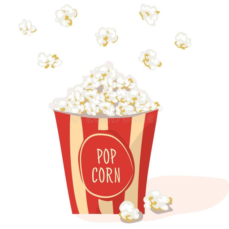 Λαϊκό καλαμπόκι σε ένα κόκκινο γδυμένο πακέτο Επίπεδο διάνυσμα Popcorn απεικόνιση, στο άσπρο υπόβαθρο διανυσματική απεικόνιση