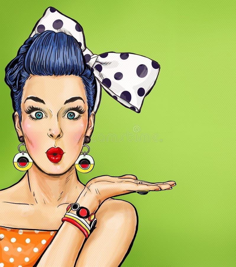 Λαϊκό κορίτσι τέχνης με τη σκεπτόμενη φυσαλίδα Πρόσκληση κόμματος κουνέλι δώρων καρτών γενεθλίων Hollywood, αστέρας κινηματογράφο στοκ εικόνα
