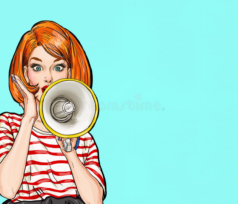 Λαϊκό κορίτσι τέχνης με megaphone Γυναίκα με το μεγάφωνο Κορίτσι που αναγγέλλει την έκπτωση ή την πώληση χρονικός καθολικός Ιστός απεικόνιση αποθεμάτων