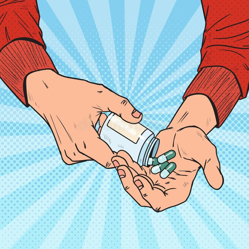 Λαϊκό μπουκάλι εκμετάλλευσης ατόμων τέχνης με τα ιατρικά φάρμακα Αρσενικά χέρια με τα χάπια Φαρμακευτικό συμπλήρωμα απεικόνιση αποθεμάτων