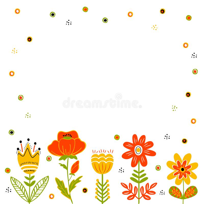 Λαϊκό πλαίσιο λουλουδιών ύφους, υπόβαθρο, επιφάνεια διανυσματική απεικόνιση