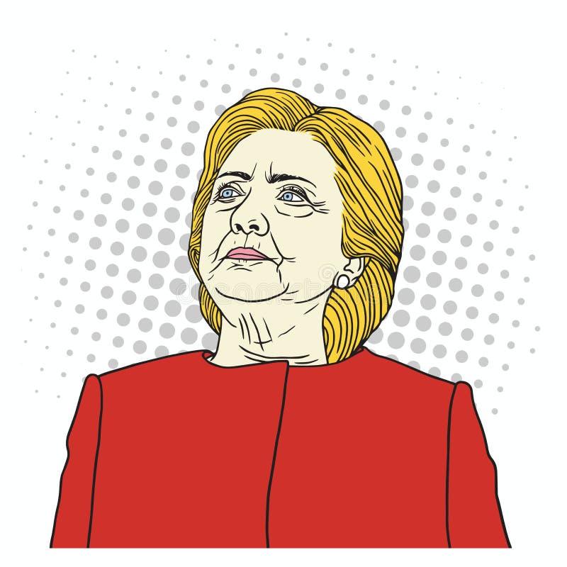 Λαϊκό πορτρέτο τέχνης της Χίλαρι Κλίντον επίσης corel σύρετε το διάνυσμα απεικόνισης 29 Σεπτεμβρίου 2017 απεικόνιση αποθεμάτων
