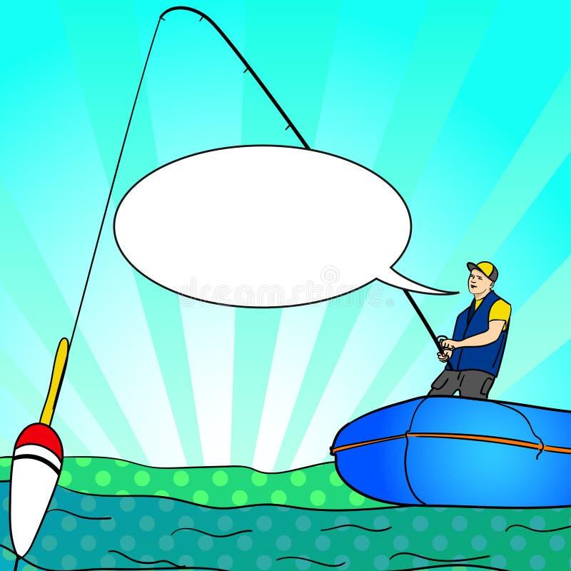 Λαϊκό πρόσωπο αλιειών τέχνης με τη ράβδο σε μια βάρκα στην ήρεμη σκιαγραφία νερού λιμνών Φυσαλίδα κειμένων Κόμικς εικόνας του Φίσ διανυσματική απεικόνιση